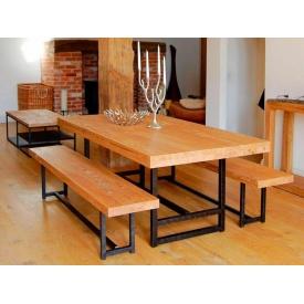Комплект обеденный стол + скамейки в стиле LOFT (Table-332)