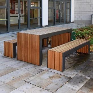 Садовый стол с 2 скамейками в стиле LOFT (Garden Table - 16)