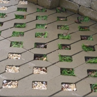 Тротуарная плитка Золотой Мандарин Парковочная решетка 500х500х80 мм на сером цементе горчичный
