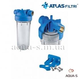 """Фильтр-колба для холодной воды Atlas Filtri DP MONO TS Dn 3/4"""" 45° 10"""" прозрачная колба"""