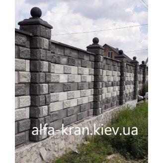 Блок колотий парканний 390х90х190 мм