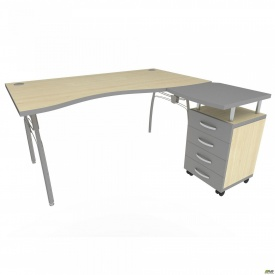 Стол с тумбой М95 АртМобил (1600х900/1630х760мм) клен/кромка серый металлик/металлический каркас