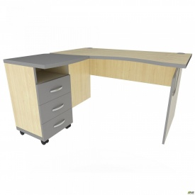 Стол с тумбой М433 АртМобил (1400х740/1420х760мм) клен/кромка серый металлик