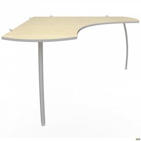 Стол угловой М350 АртМобил (1370х1370х760мм) клен/кромка серый металлик/металлический каркас