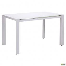 Стол обеденный раскладной Санторини 1220(1820)х800x760 База белый/Стекло белый