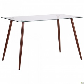 Стол обеденный Умберто DT-1633 орех/стекло прозрачное