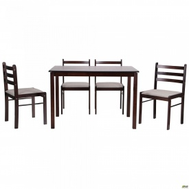Комплект обеденный Брауни стол+4 стула темный шоколад/латте