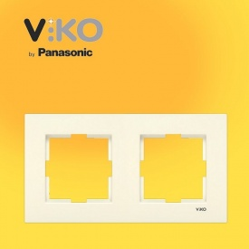 Двойная горизонтальная рамка VIKO Karre крем