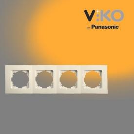 Четверная горизонтальна рамка VIKO Linnera крем
