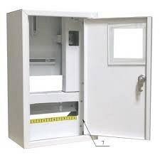 Шкаф монтажный распределительный наружной установки с замком под 1Ф электронный счетчик Лоза ШМР-1Фэ-10Н+УЗО