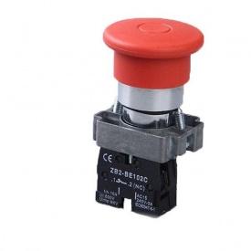 Кнопка управління натискна з фіксацією XB2-ВТ42 червоний стоп