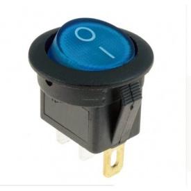 Переключатель клавиатуры КП-16 3 контакта 2 положения с фиксацией и подсветкой 220В синий