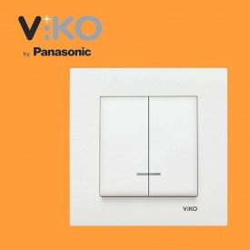 Выключатель 2-х клавишный с подсветкой VIKO Karre белый