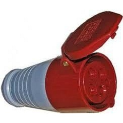 Розетка переносна 214 16А 380-415В 4 контакта 3P+E червоний