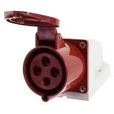 Розетка стаціонарна зовнішня 124 32А 380-415 4 контакти (3P+E) червоний