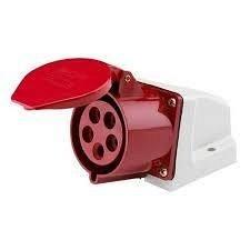 Розетка стаціонарна зовнішня 125 32A 220-380B 5 контактов 3P+E+N IP44 червона