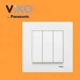 Выключатель 3-х клавишный VIKO Karre белый