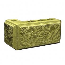 Блок Західтрансбуд Колотый камень угловой 390х190х95х90 мм горчичный