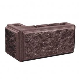 Блок Західтрансбуд Колотый камень угловой 390х190х95х90 мм коричневый