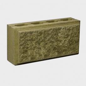 Блок Західтрансбуд Колотый камень стеновой двухсторонний 390х190х90 мм горчичный