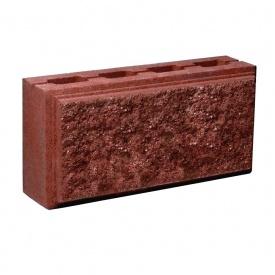 Блок Західтрансбуд Колотый камень стеновой двухсторонний 390х190х90 мм красный