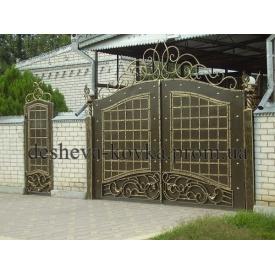 Кованые ворота закрытые с калиткой A-0103 Дешевая ковка