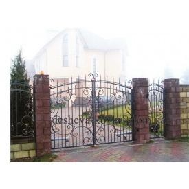 Ковані ворота з хвірткою та ковкою Код В-0126 ДЕШЕВА КОВКА
