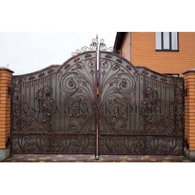 Ковані ворота з елементами ковки Код В-0155 ДЕШЕВА КОВКА