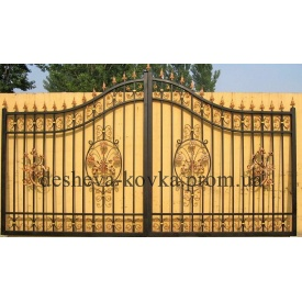 Элитные кованые ворота с листочками