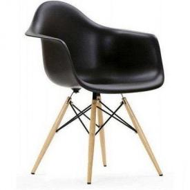 Пластикове крісло Тауер Вуд SDM 800х620х620 мм чорне ніжки-дерев`яні