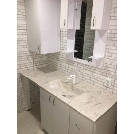 Стільниця індивідуальна у ванну кімнату суцільнолита з чашею Тіфані 540х300 мм 135 мм