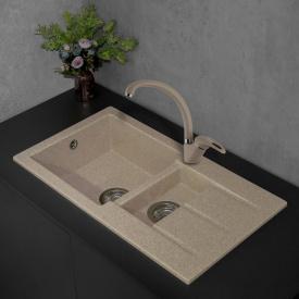 Прямоугольная гранитная кухонная мойка Fancy Marble Alabama 206080004 светло-черный
