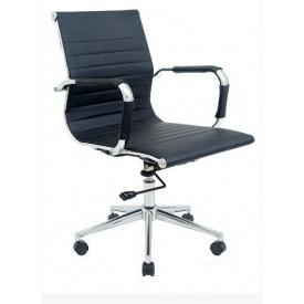 Офісне крісло Richman Балі LB 960-1040х580х460 мм хром чорний кожзам