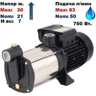 Насос центробежный многоступенчатый MRS-3/AISI316 Sprut 30/21 м 50-83 л/мин 220 В 750 Вт