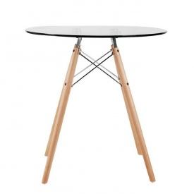 Стеклянный стол SDM Имз диаметром 800 мм ножки-дерево