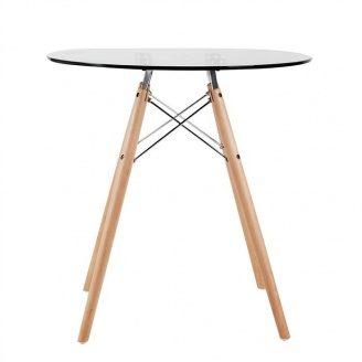 Скляний стіл SDM Імз діаметром 800 мм ніжки-дерево