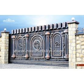Кованые ворота откатные закрытые с колоннами