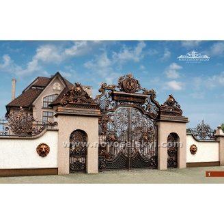 Ковані ворота розпашні відкриті з аркою і хвіртками