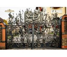 Ковані ворота розпашні відкриті з литими елементами