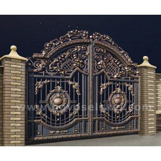 Ковані розпашні new ворота відкриті з литими центрами і акантовим листям