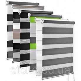 Тканинні ролети день-ніч зебра триколор сіро-зелений 1500