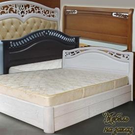 Ліжко двоспальне дерев'яне Крісті з ящиками / підйомним механізмом біла