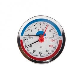 SD Термоманометр заднього підключення 1/2 80 мм 120ºC 6 бар SD1736B
