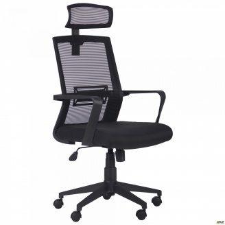 Офисное кресло AMF Neon HR Саванна Black 19/Сетка черная 12-128х58х65 см