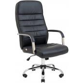 Офісне крісло Richman Ліон 1040-1120х580х580 мм Хром М1 чорний кожзам