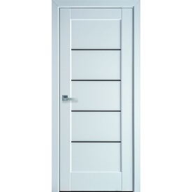 Двери межкомнатные Новый Стиль Мира Белый Матовый Чорное стекло