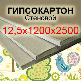Гіпсокартон стіновий Knauf 12,5*1200*2500 мм