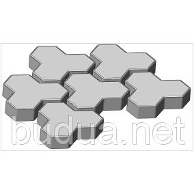 """Тротуарная плитка Трилистник"""", серый, 60 мм"""