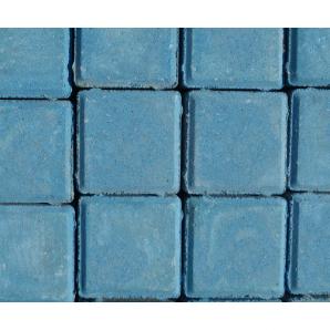 "Тротуарная плитка ""Квадрат"" Стандарт УМБР 80мм, синяя на белом цементе"