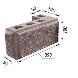 Блок колотий кутовий з фаскою 390х90х190х190 мм